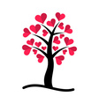 tree with red hearts vector image vector image