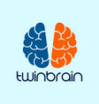 twin brain photography logo design template blue vector image