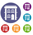 two-storey residential house icons set vector image vector image