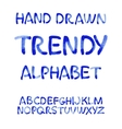 Watercolor hand written blue alphabet vector image