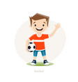 young soccer player isolated on white background vector image vector image