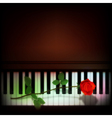 abstract grunge dark background with rose on piano vector image
