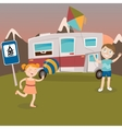 Children on Camper Vacation Happy Kids Playing vector image