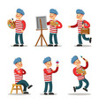 artist cartoon character set painter with palette vector image vector image