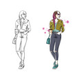 casual street look fashion vector image vector image