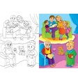 Coloring Book Of Whole Family Is At Home vector image