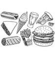 fast food burger and hamburger tacos and hot dog vector image vector image