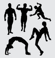 fitness sport silhouette vector image vector image