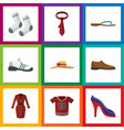 flat icon dress set of sneakers clothes beach vector image vector image