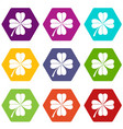 four leaf clover icon set color hexahedron vector image vector image