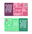 gift card linear set for corridor furniture vector image vector image