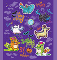 halloween bright stickers design with owl black vector image vector image