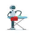 housemaid android character ironing clothes vector image vector image
