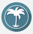 icon palm trees on white circle with a long shadow vector image vector image
