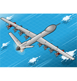 Isometric Drone Airplane Flying in Rear View vector image
