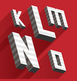 isometric letters k l m n o drawn with stripes and vector image