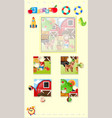 jigsaw puzzle game with farm boy vector image vector image