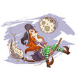 joyful witch flying on a broomstick vector image