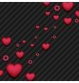 Red pink hearts on black striped background vector image