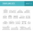set line flat design buildings icons vector image