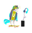 set of unicorn skater headphones and smartphone vector image vector image