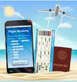 smartphone online flight booking ticket passport vector image vector image