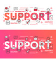support word set thin line abstract web design vector image vector image