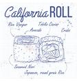 sushi sketch California rolls vector image vector image