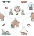 trendy christmas illustration cookie house clock vector image