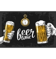 Two hands holding beer glasses mug Hand drawn vector image vector image