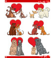 valentine cartoon love set with dogs vector image vector image