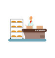 worker packing freshly baked bread in boxes stage vector image vector image