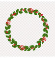 xmas wreath garland with holly berry transparent vector image vector image