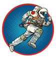 astronaut runs forward round emblem vector image vector image
