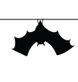 bat hanging on a rope silhouette vector image vector image
