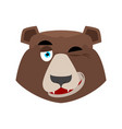 bear winking emoji grizzly happy emotion face vector image