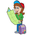 cartoon girl traveller vector image