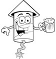 cartoon smiling firecracker holding a beer vector image vector image