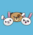 cute animals characters kawaii style vector image vector image