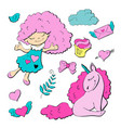 cute cartoon patch princess with unicorns hearts vector image vector image