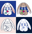 cute christmas rabbit bunny holding holly fruit vector image vector image
