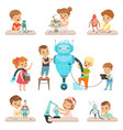 cute little kids programming and creating smart vector image vector image