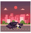 flat cartoon pedestrian accident isolated vector image vector image