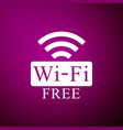 free wi-fi sign isolated on purple background vector image vector image