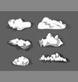 hand drawn vintage engraved clouds set vector image