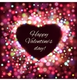 Happy Valentine Day Card with bokeh lights vector image