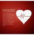 Heart Rate flat icon on red background vector image vector image
