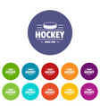 hockey icons set color vector image vector image