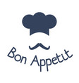 icon of chef with mustache and sign bon appetit vector image