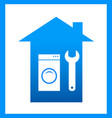 icon with wrench and washing mashine vector image